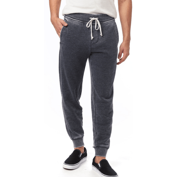 Men's Burnout French Terry Jogger Pants in Washed Black