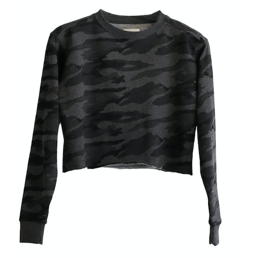 Terry camouflage long sleeve top