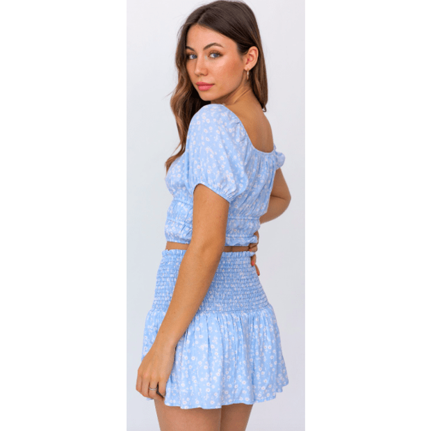 Puff sleeve smocked top and matching skirt set