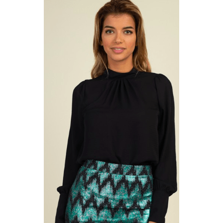 Long Sleeve black Pleat Front Top