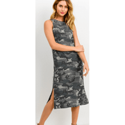 Grey Camo Sleeveless Dress