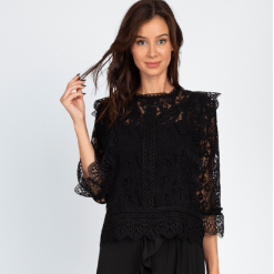 Crochet Trim Floral Lace Top
