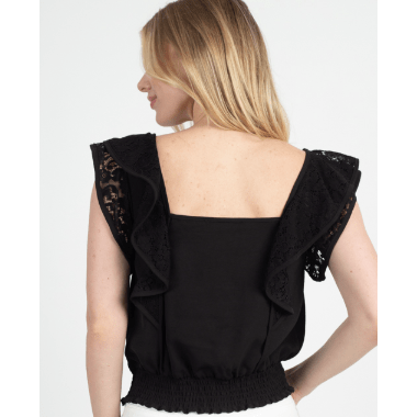 Black Lace Embroidered Ruffle Top