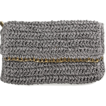 Grey crochet clutch