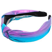 Iridescent/metallic top Knot Headband