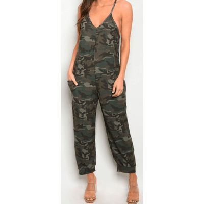 CAMO V NECK THIN STRAP POCKETED JUMPSUIT