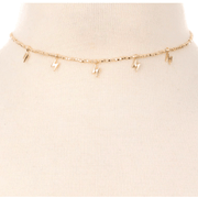 Beaded bolt Choker Necklace - gold and silver