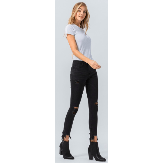 Black mid rise distressed jeans