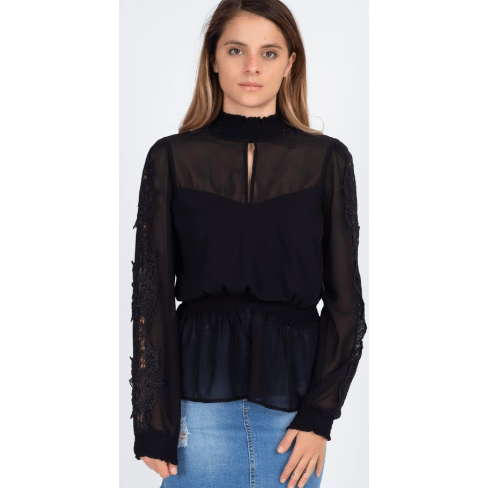 Black sheer smocked trim top