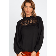 Black Crochet Lace Pleated Sleeve Top
