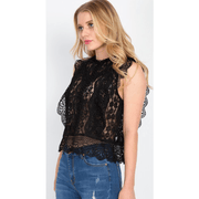 Black Sheer Floral Lace Crochet Top