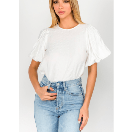 White dramatic puff sleeve top