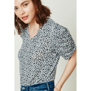 Leopard V-Neck Tee( ruched sleeve)