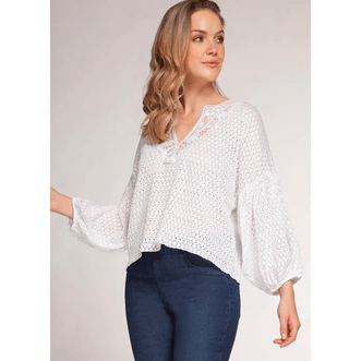 Dex 3/4 Balloon sleeve textured top in white