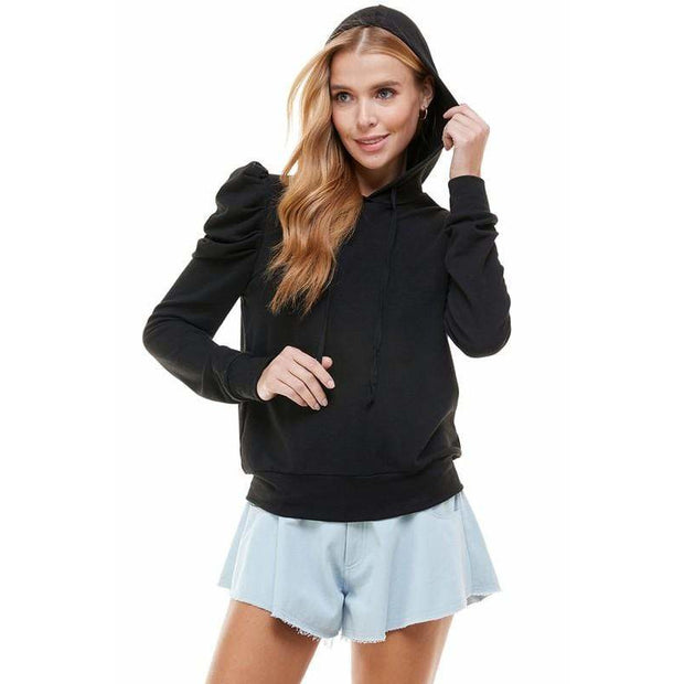 Black Puff Sleeve hooded top