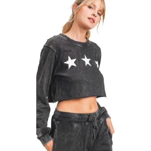 Mineral-Washed Triple Stars Terry Cropped Pullover