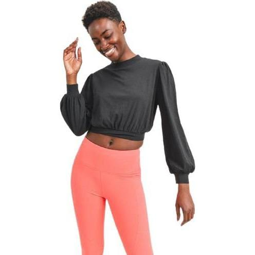 Organic Cotton Blend Cropped puff sleeve Pullover
