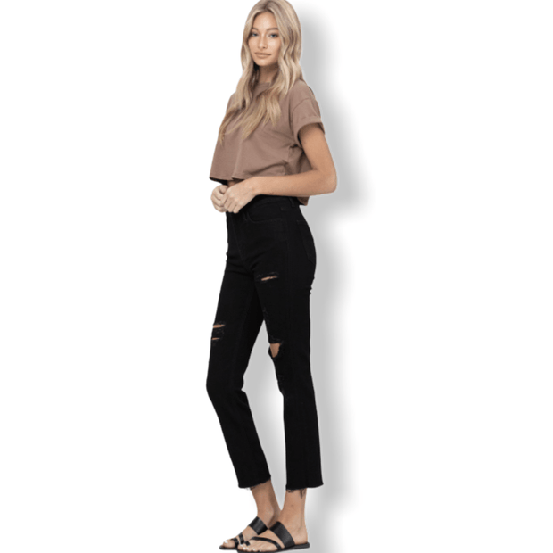 High Rise Distressed Crop Straight Black Jeans