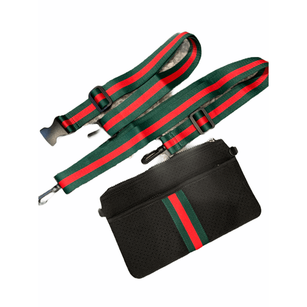 Black neoprene waist/crossbody bag with red and green stripe