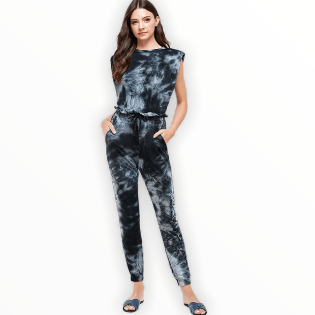 Tie Dye Shoulder Pad Muscle Sleeveless Jumpsuit