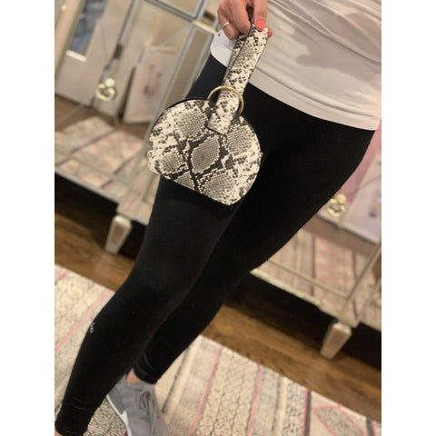 White and Grey Snakeskin Wristlet with Pull Through Handle