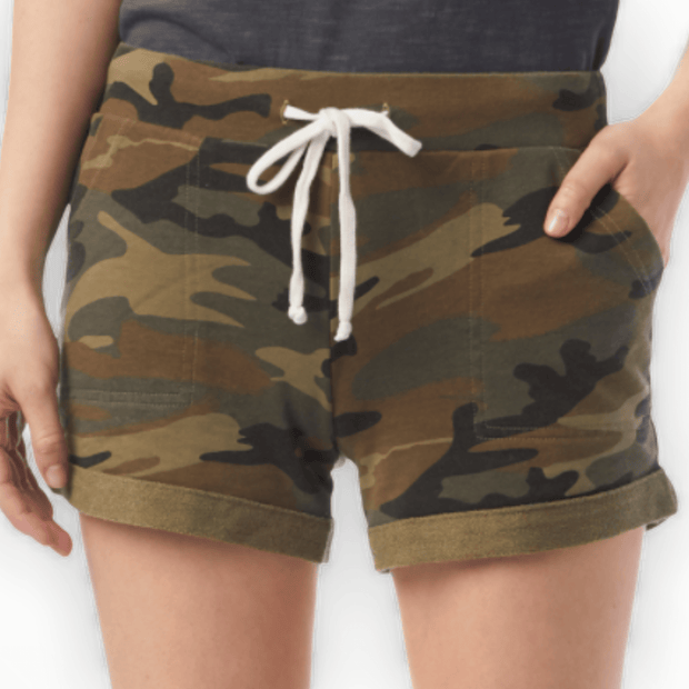 Camo french terry shorts