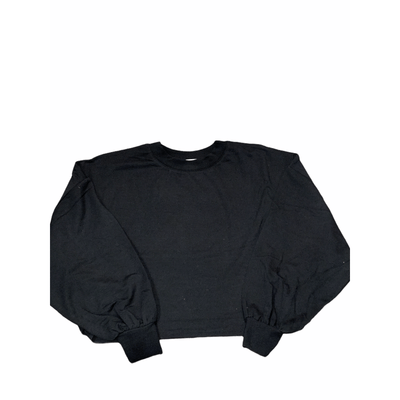 Black cropped mock neck balloon sleeve top