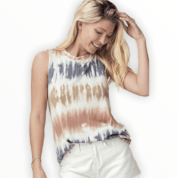 Tie dye striped tank