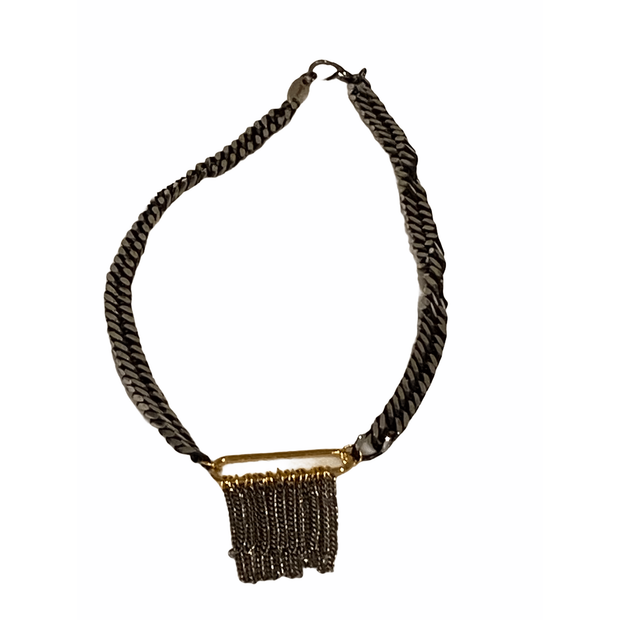 Mirror gunmetal thick chain link with fringe accent