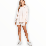 Waffle Cream oversized top and shorts