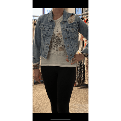 Cropped denim distressed jacket - light denim