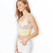 Tie Dye crinkle seamless cropped fitted tank (2 colors available)