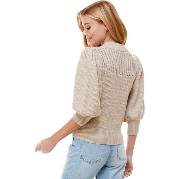Beige Pointelle Puff Sleeve Sweater
