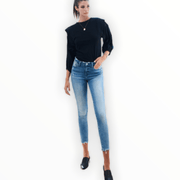 Mid Rise ragged waistband and hem crop skinny jeans