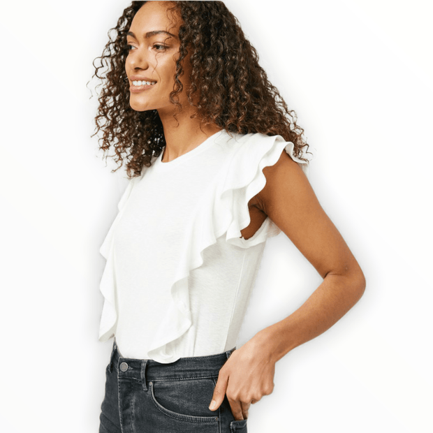 Layered ruffled ribbed top in off white