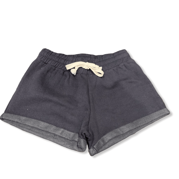 Washed black beach fleece drawstring short with rolled hem