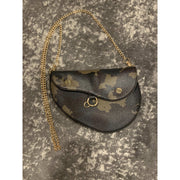 Camo Saddle Bag with Gold Chain Crossbody Strap and Belt