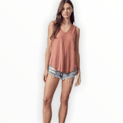 Washed v neck tank (multiple colors available)