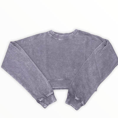 Mineral Wash cropped pullover in plum grey