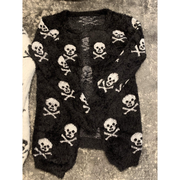 Skull knit cardigan sweater - one size fits most