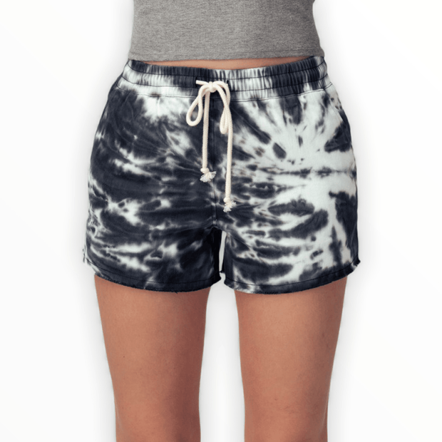 Tie dye black raw hem shorts