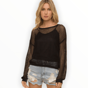 Crochet black sweater with tank