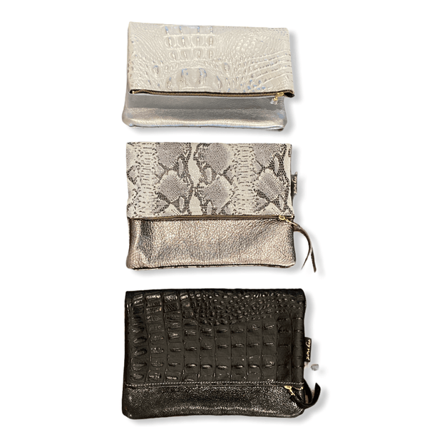 Adeline Leather Foldover clutch (3 options available)