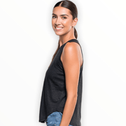 Distressed linen racer back tank