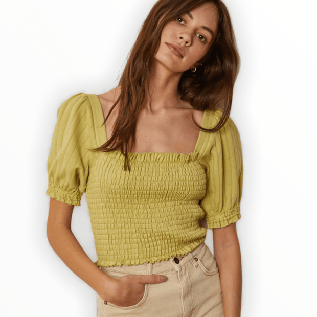 Lime ribbed smocked top