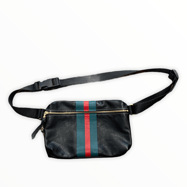 Black leather hip bag with red and green stripe