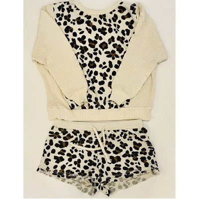 Ivory Leopard colorblock rib and print crewneck and matching shorts set