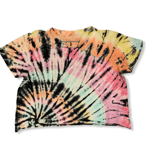 Prince peter 5 color tie dye mix cropped distressed tee