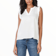 Sleeveless v-neck top with ruffle shoulder in Ivory