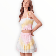 Tie Dye rainbow dot ruffled skirt and ruffled crop top set